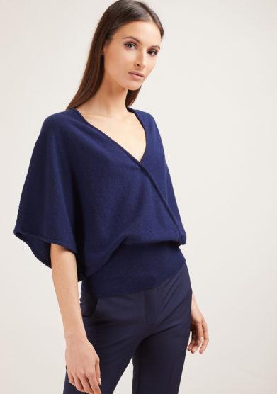 maglia mezza manica in cashmere blu alyki manica kimono
