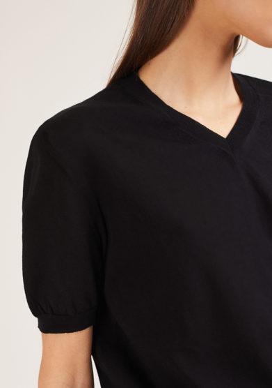 maglia mezza manica scollo v cotone nera alyki