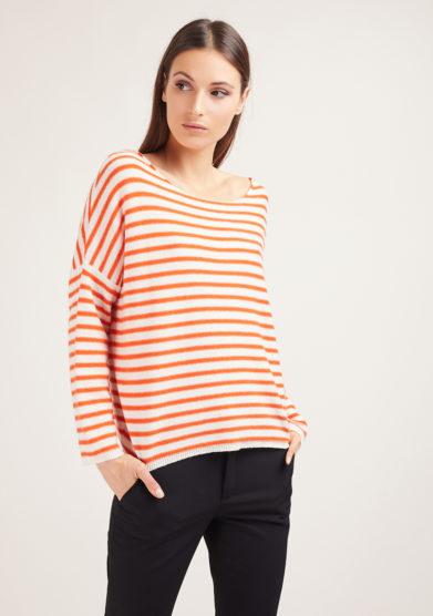 alyki maglia scollo a barca righe bianco e arancio