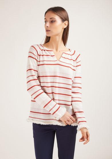 Alyki maglia serafino in cashmere panna a righe rosa e mattone bordi sfrangiati