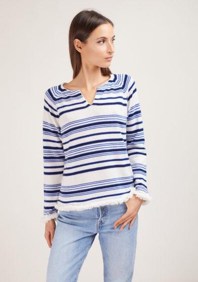 alyki maglia serafino in cashmere righe blu e azzurro bordi sfrangiati