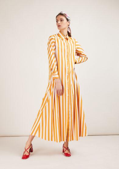 vestito capri in cotone a righe alyki