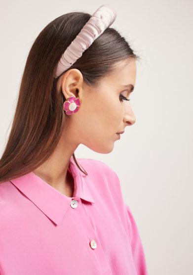 cerchietto croissant satin rosa Bluetiful milano
