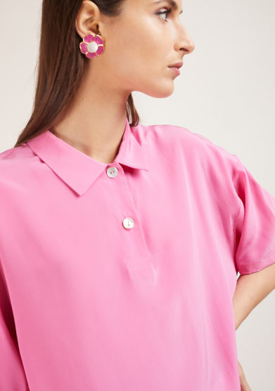camicia in seta rosa caftanii