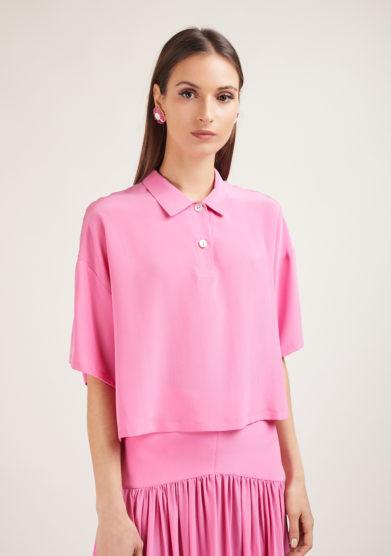 camicia caftanii in seta rosa