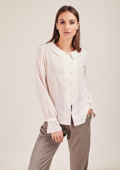 Chiara bloom camicia peonia baby pink colletto stondato seta