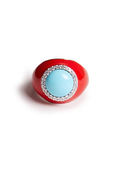 anello mignolo oro bianco smaltato rosso con turchese e diamanti isabì isabella pangrazi