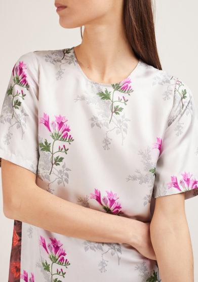 camicia mezza manica mantero 1902 in seta summer poppies bianco
