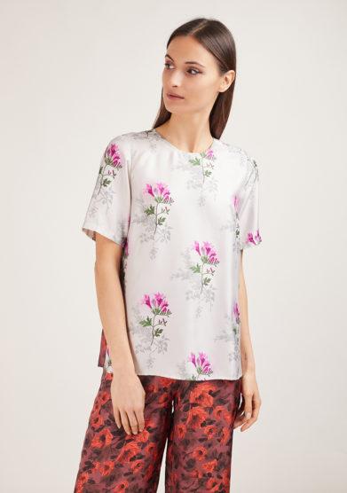 mantero 1902 camicia mezza manica in seta summer poppies bianco