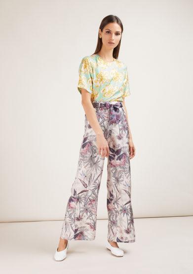 completo camicia e pantalone in seta exotic vibes lime mantero 1902