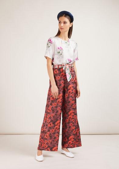 mantero 1902 completo camicia e pantalone in seta summer poppies bianco