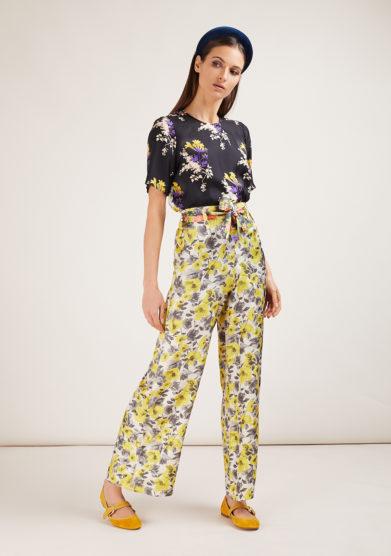 completo camicia e pantalone in seta summer poppies nero mantero 1902