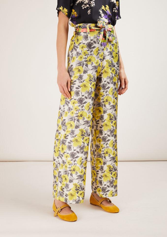 mantero 1902 pantalone palazzo in seta summer poppies giallo