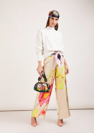 pantalone palazzo in seta wild iris beige