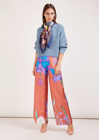 pantalone palazzo mantero 1902 in seta wild iris ruggine inverno