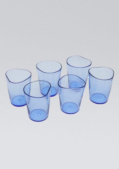 set micheluzzi glass bicchieri blu