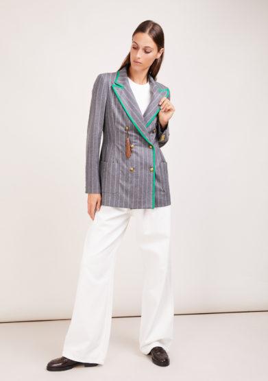 blazer doppio petto Nasco unico Classy in lana grigio gessato