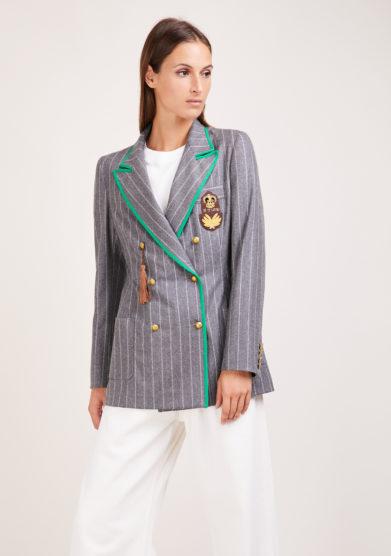 Nasco unico blazer doppio petto Classy in lana grigio gessato
