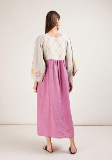 nina leuca abito in lino rosa e beige