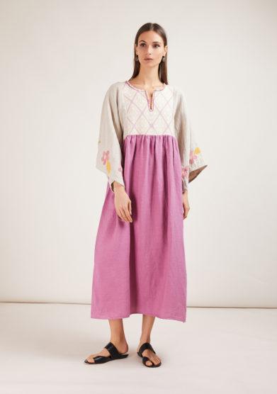 abito in lino rosa e beige nina leuca