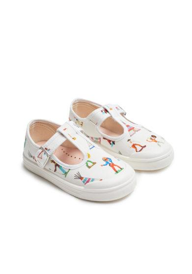 pepè sandali canvas bianchi fantasia sioux