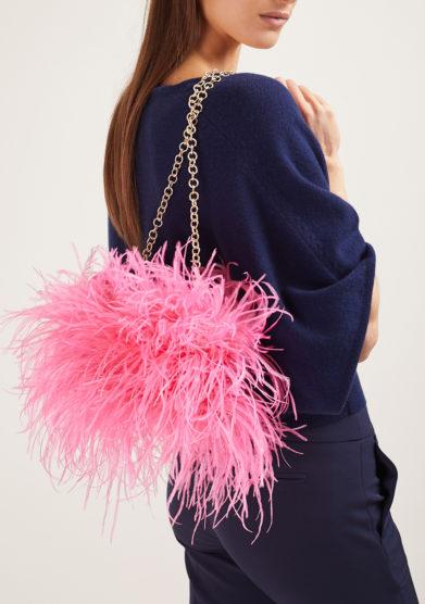 Pescepazzo borsa Coffa siciliana mini rosa fluo seta indossato spalla