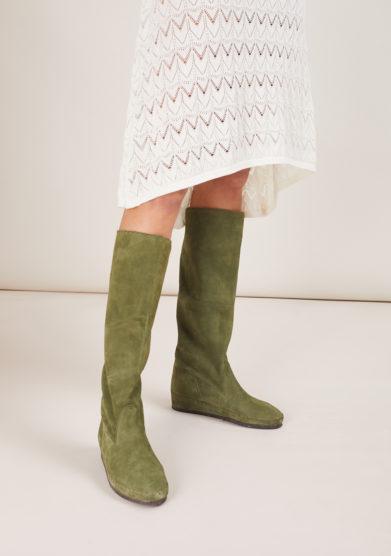 stivale socksi milano in pelle scamosciata verde sotto il ginocchio