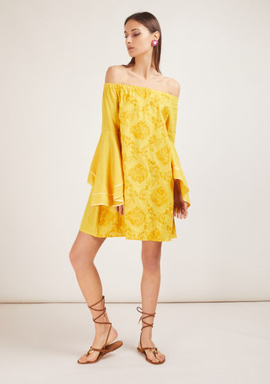 soloblu minidress maniche scampanate giallo