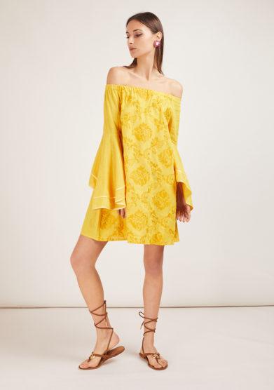 soloblu minidress maniche scampanate giallo