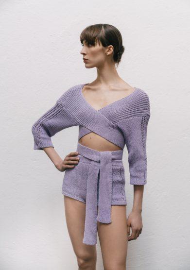 completo coprispalle culotte in cotone lilla 16R