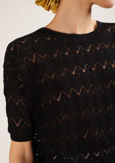 maglia alyki mezza manica khloè in cotone nera