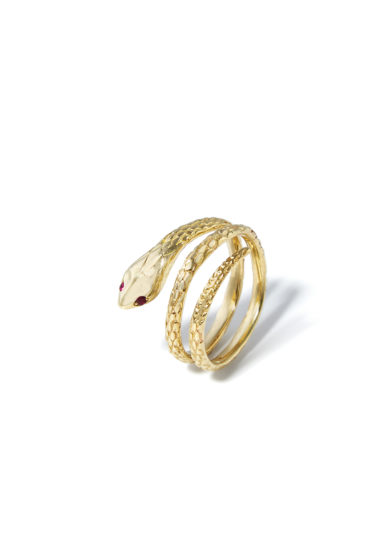 anello serpente bambina in oro giallo 18kt occhi rubino atelier molayem