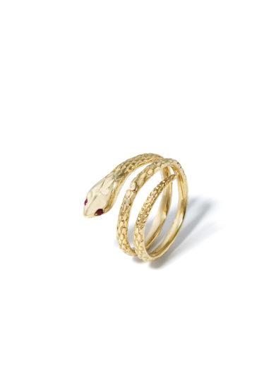 atelier molayem anello donna serpente in oro giallo 18kt occhi rubino