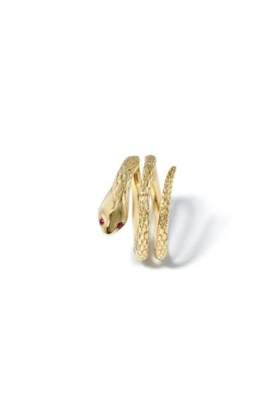 atelier molayem anello serpente donna in oro giallo 18kt occhi rubino