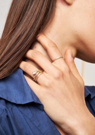 atelier molayem anello serpente in oro giallo 18 kt occhi rubino