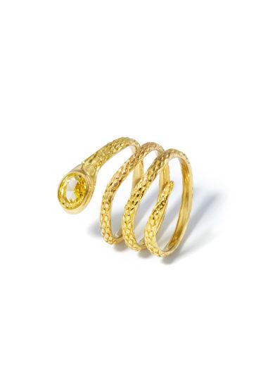 anello oro giallo serpente con diamante giallo atelier molayem