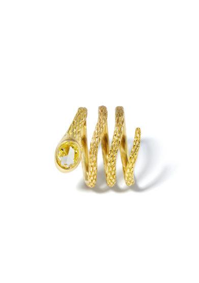 atelier molayem anello serpente oro giallo 18kt con diamante giallo