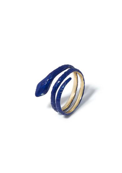 anello snake woman gold enamel blu atelier molayem