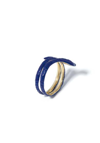atelier molayem anello snake woman gold enamel blu
