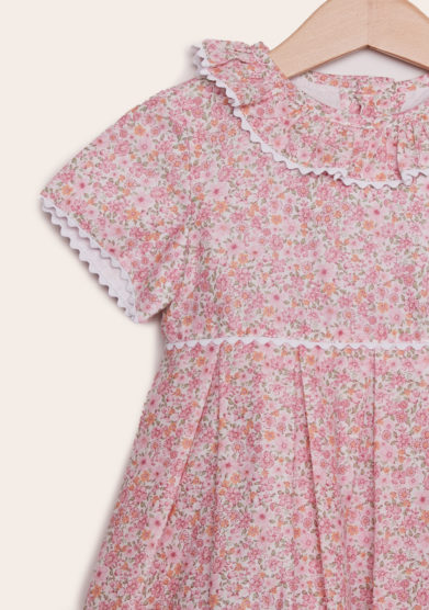 abito mezza manica baroni in cotone con bottoni fiori rosa