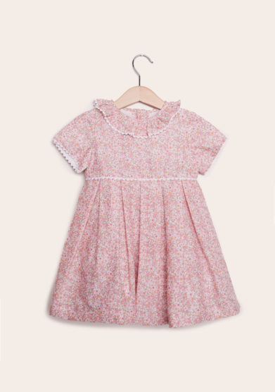 baroni abito mezza manica in cotone con bottoni fiori rosa