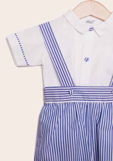 completo bambino cerimonia baroni in cotone righe blu