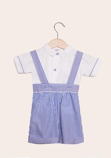 baroni completo bambino cerimonia in cotone righe blu