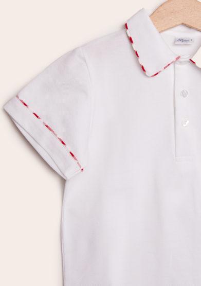polo mezza manica in cotone bianco con bordo rosso vichy baroni