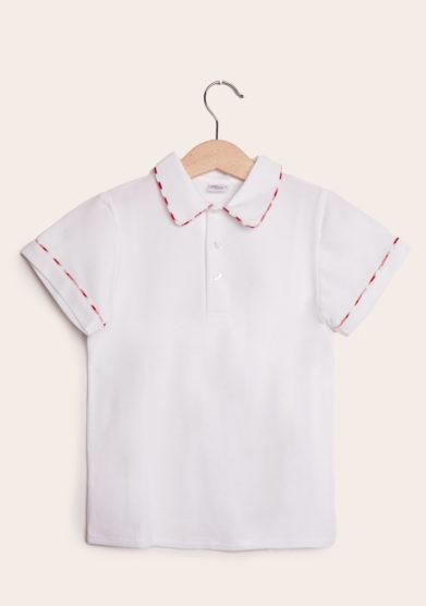 baroni polo mezza manica in cotone bianco con bordo rosso