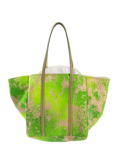 iacobella borsa calypso tie dye verde in canapa