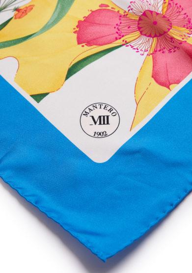 classic carrè archivio N.52 fantasia iris avorio bordo azzurro