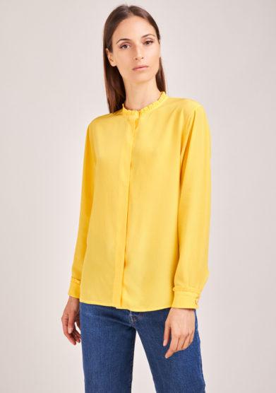 chiara bloom camicia gialla in seta