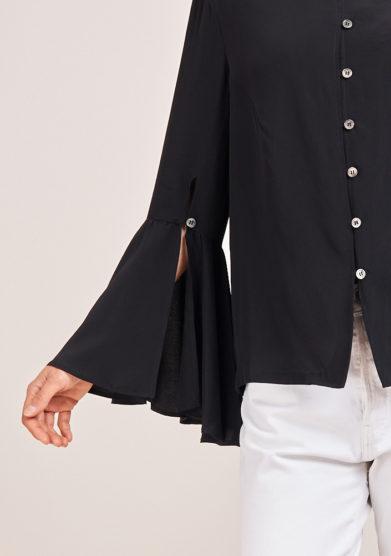 chiara bloom camicia in seta nera
