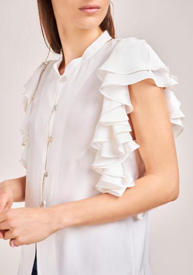 camicia mezza manica in seta bianca chiara bloom